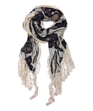 East Cloud White & Green Floral Infinity Scarf