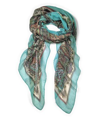 East Cloud Turquoise Paisley Scarf
