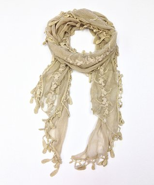 East Cloud Beige Textured Embroidered Scarf