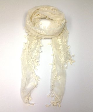 East Cloud Ivory Textured Embroidered Scarf