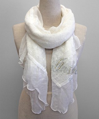 East Cloud White Shimmer Textured Scarf
