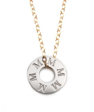 Two-Tone Initial Token Pendant Necklace