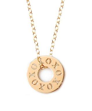 Gold 'XOXO' Token Pendant Necklace