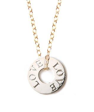 Two-Tone 'Love' Token Pendant Necklace