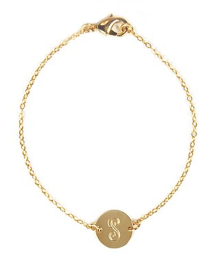 Gold Engraved Initial Charm Bracelet