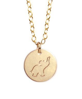 Gold Engraved Good Luck Elephant Pendant Necklace
