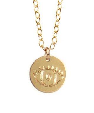 Gold Engraved Evil Eye Pendant Necklace