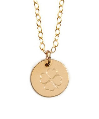 Gold Engraved Clover Pendant Necklace