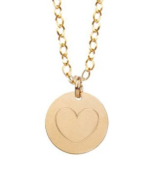 Gold Engraved Heart Pendant Necklace