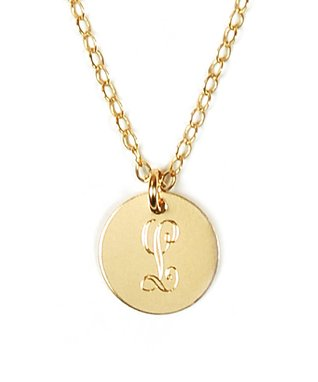Gold Disc Initial Pendant Necklace