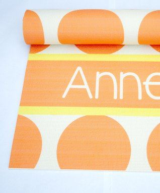 Yellow & Coral Polka Dot Personalized Yoga Mat