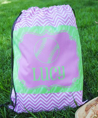 Pink & Green Softball Personalized Drawstring Tote