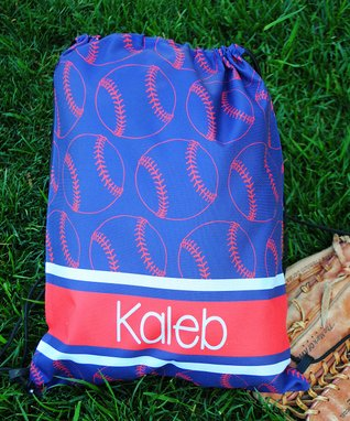 Blue & Red Baseball Personalized Drawstring Tote