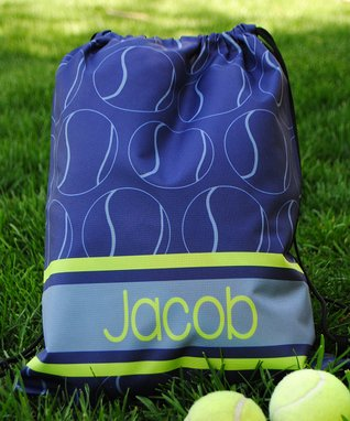 Blue Tennis Personalized Drawstring Tote