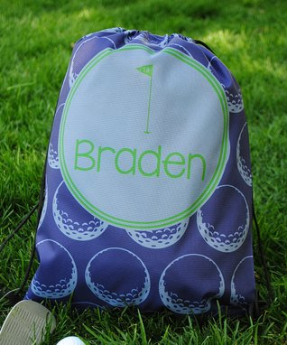 Blue Golf Personalized Drawstring Tote