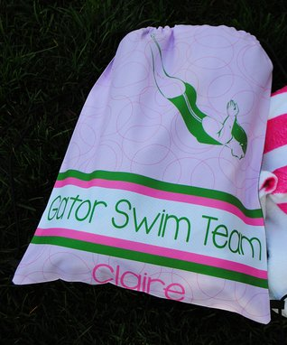 Pink Swim Personalized Drawstring Tote
