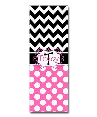 Little Goddess Boutique Black & Hot Pink Zigzag Personalized Yoga Mat