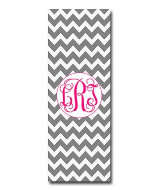 Little Goddess Boutique Gray & Shocking Pink Zigzag Monogram Yoga Mat