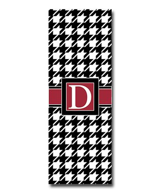 Little Goddess Boutique Black & Crimson Houndstooth Initial Yoga Mat