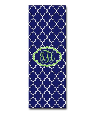 Little Goddess Boutique Navy & Apple Green Moroccan Monogram Yoga Mat