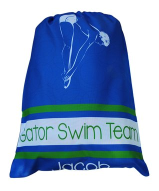 Blue Swim Personalized Drawstring Tote