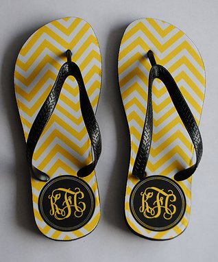 Yellow & Black Zigzag Monogram Flip-Flop