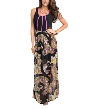 Black & Purple Geometric Maxi Dress