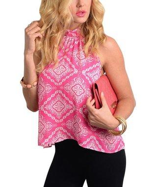 Pink & White Scarf Print Back-Slit Top