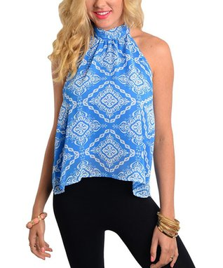 Blue & White Scarf Print Back-Slit Top