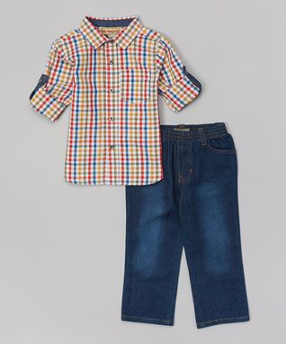 Yellow Plaid Button-Up & Jeans - Toddler & Boys