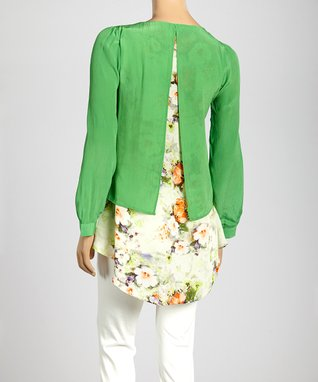 Trisha Tyler Apple Green Floral Top