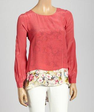 Trisha Tyler Rose Berry Floral Top