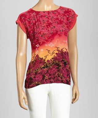 Trisha Tyler Rose Berry Floral Embellished Top