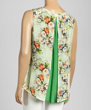 Trisha Tyler Apple Green Floral Embellished Top