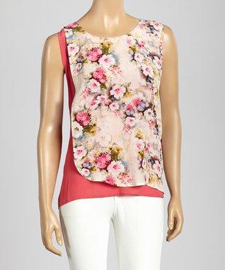Trisha Tyler Rose Berry Floral Swing Sleeveless Top