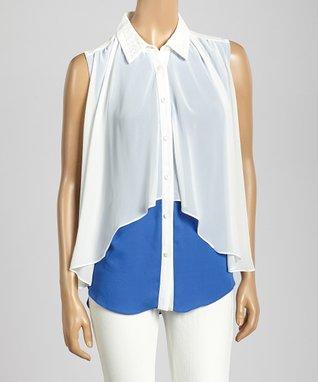 Trisha Tyler Blue & White Eyelet Collar Sleeveless Top