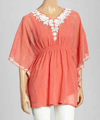 Trisha Tyler Coral & White Embroidery Sleeveless Peasant Top
