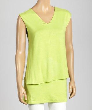 Trisha Tyler Lime V-Neck Sleeveless Top