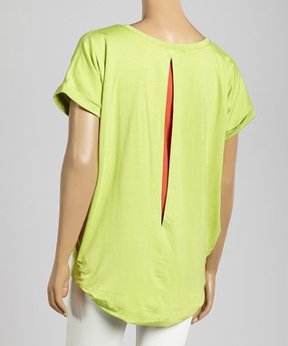 Trisha Tyler Lime & Coral Cutout Top