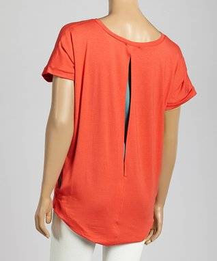 Trisha Tyler Coral & Turquoise Cutout Top