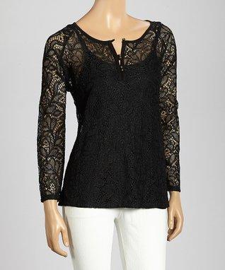 Trisha Tyler Black Floral Lace Long-Sleeve Top
