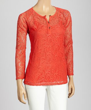 Trisha Tyler White Floral Lace Long-Sleeve Top