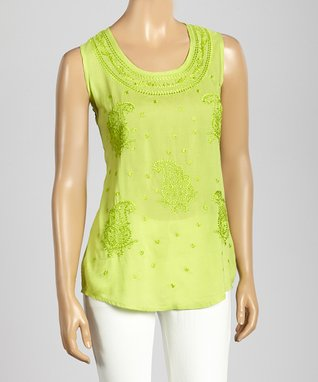 Trisha Tyler Lime Paisley Embroidery Tank Top
