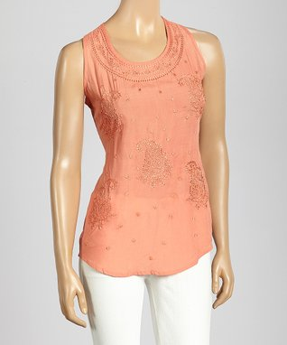 Trisha Tyler Coral Paisley Embroidery Tank Top