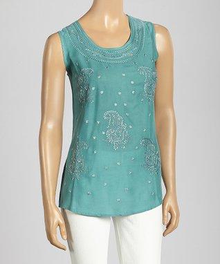 Trisha Tyler Turquoise Paisley Embroidery Tank Top
