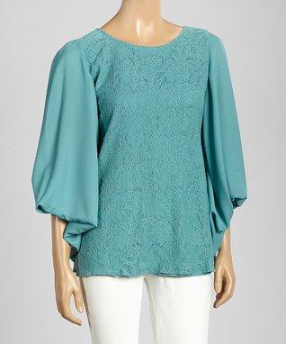 Trisha Tyler Turquoise Lace Puff-Sleeve Top