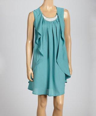 Trisha Tyler Dusty Turquoise Ruffle Embellished Sleeveless Dress