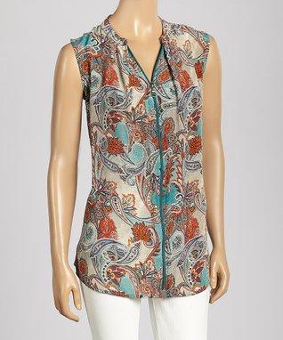 Trisha Tyler Turquoise & Coral Paisley Zipper Sleeveless Top