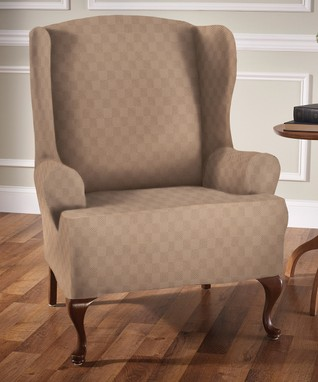 Wheat Newport Wing Chair Slipcover
