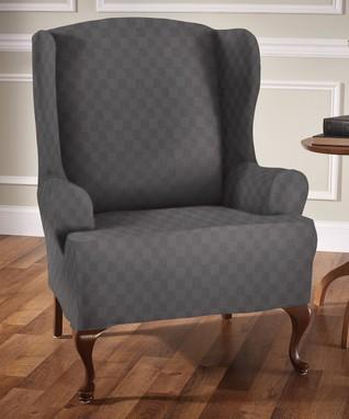 Chocolate Optics Wing Chair Slipcover